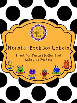 Dollar Spot Pocket Editable Book Box Labels - Monsters