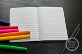 Dollar Stock Photo 109 Small Notebook with Colorful Pens