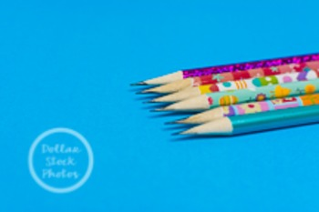 Dollar Stock Photo 215 Spring Pencils on Blue