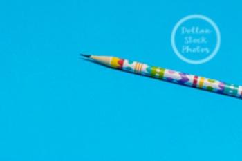 Dollar Stock Photo 217 Spring Pencil on Blue
