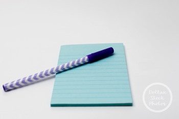 Dollar Stock Photo 335 Chevron Pen and Blue Notebook