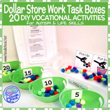 Dollar Store Work Task Boxes- 20 Activities with Visuals &