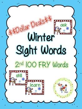 $$DollarDeals$$ Winter Sight Word Cards - 2nd 100 FRY
