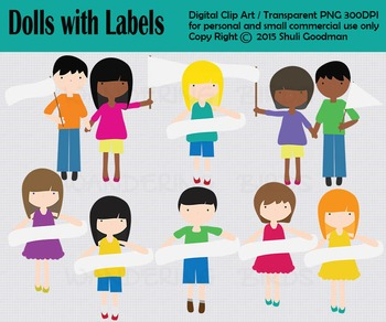 Dolls with labels, Kids clip art