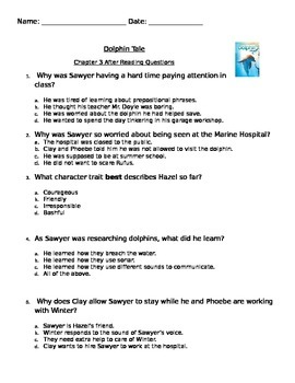 Dolphin Tale Assessment chapter 3 PARCC like Common Core S