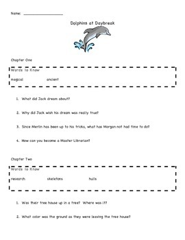 Dolphins at Daybreak Magic Tree House #9 Comprehension and