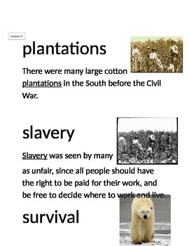 Domain 9: The U.S. Civil War common core Vocabulary Cards