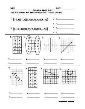 Domain and Range Quiz - PP