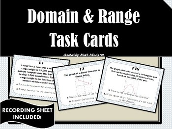 Domain and Range - Task Cards