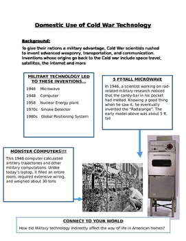 Domestic Use of Cold War Technology Outline and Notes Page