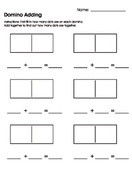 Domino Adding Worksheet/Printable