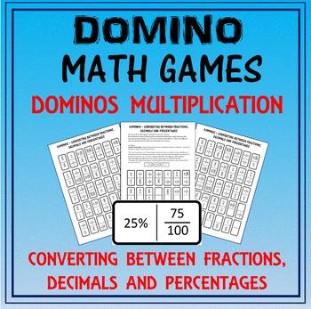 Domino Math: Converting Fractions-Decimals-Percentages & D