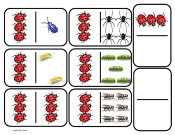 Domino Math with Bug Theme/Matching/One to One Corresponde