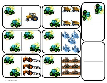 Domino Math with Tractor Theme/Matching/One to One Corresp