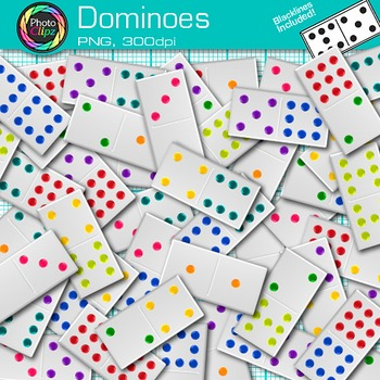 Rainbow Dominoes Clip Art {Math Manipulatives for Center A