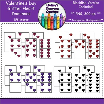 Dominoes Clip Art - Valentine's Day Hearts - Glitter Editi