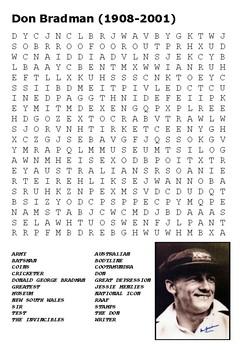 Don Bradman Word Search