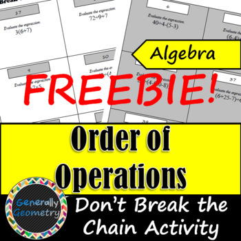 Don't Break the Chain Activity: Order of Operations