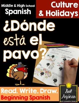 Spanish Thanksgiving ¿Donde está el pavo? Read and Draw -