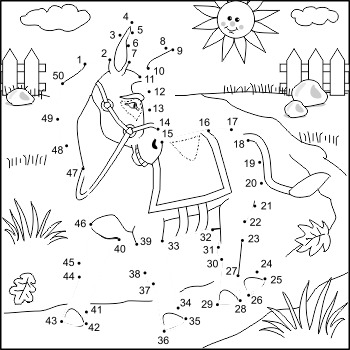 Donkey Connect the Dots Puzzle and Coloring Page, Commerci