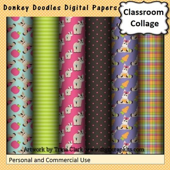 Donkey Doodles Digital Papers Set  personal & commercial use