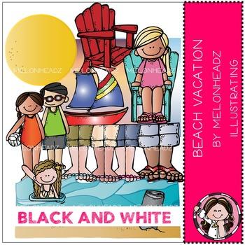 Melonheadz: Beach Vacation clip art - BLACK AND WHITE