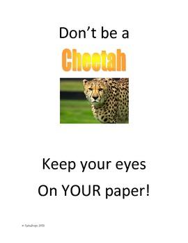 Don't Be a Cheetah cover sheet