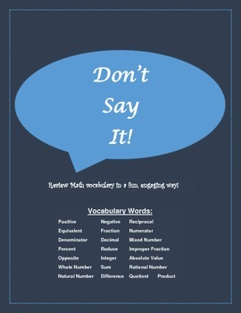 Don't Say It! Math Vocabulary Review