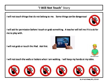 """Don't Touch"" Social Story and Cue Cards"