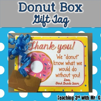 Donut Box Gift Tag |editable|