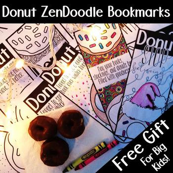 Donut Zen Doodle Bookmarks, Christmas Gift Printable, #Las