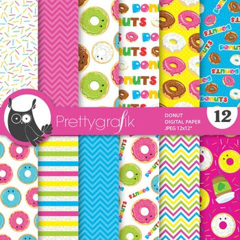 Donut digital paper, commercial use, scrapbook papers - PS722