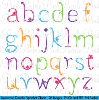 Doodle Alphabet, Lowercase - Commercial and Personal Use