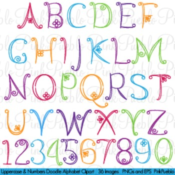 Doodle Alphabet, Uppercase and Numbers - Commercial and Pe