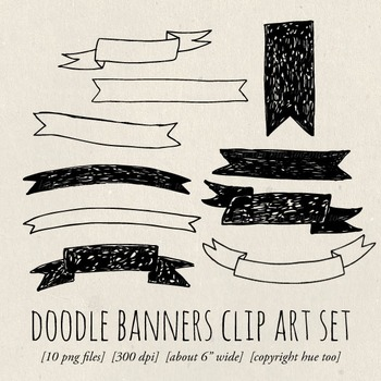 Doodle Banners Clip Art, Hand Drawn Ribbon Clip Art for Tp