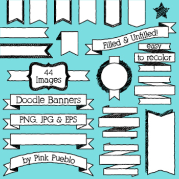 Doodle Banners Clipart and Vectors