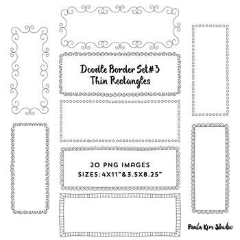 Doodle Border Set #3 - Thin Rectangles