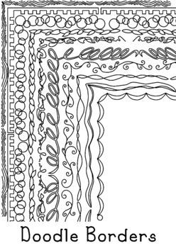 Doodle Borders Clip Art Bundle 1 PNG JPG Blackline Commerc