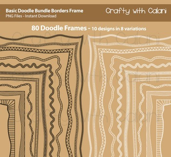 Doodle Borders Frames Bundle in Black and White for Commer