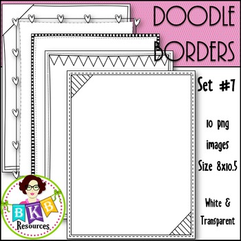 Doodle Borders/Frames Set #7 {Graphics for Commercial Use}