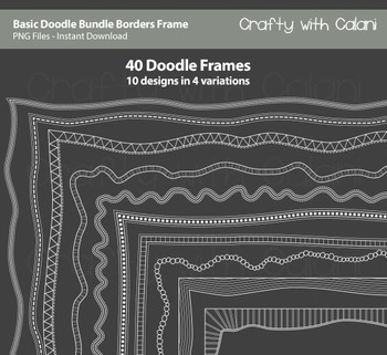 Doodle Borders Frames in Basic shape and white color for C