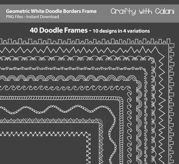 Doodle Borders Frames in geometric shape and white color f