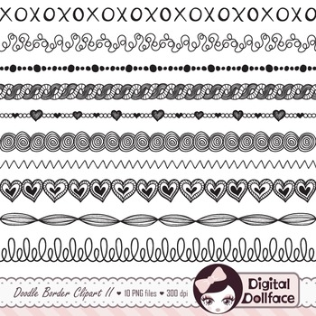 Doodle Borders: black and white border clipart