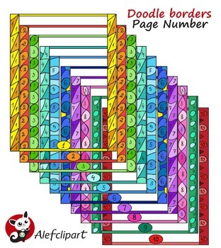 Doodle Borders with Page Numbers  Digital Clip Art Creativ