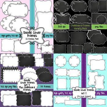 Doodle Cover Frames Bundle ~ 100 Frames in White, Transpar