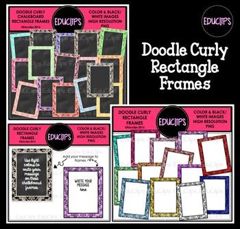 Doodle Curly Rectangle Frames Clip Art Bundle
