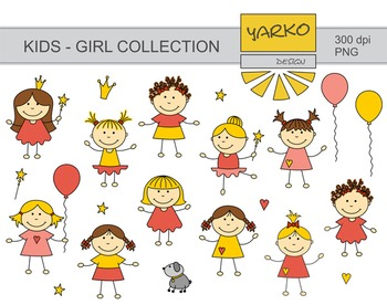 Doodle, Cute Kids Digital Clip Art, Baby Girl Digital Clip