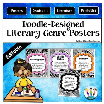 Doodle Designs Literature Genre Poster Set {EDITABLE}