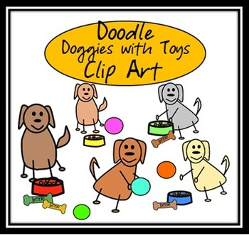 Doodle Dogs and Toys Clip Art