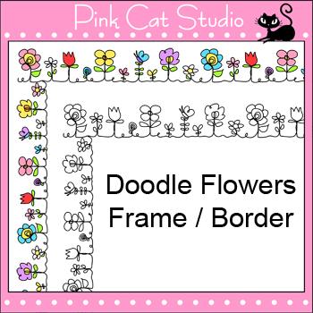 Borders Clip Art - Doodle Flowers - Frames
